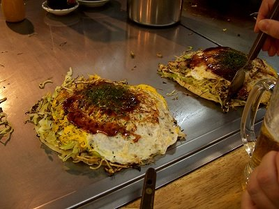 Yummy Okonomiyaki at the Okonomimura in Hiroshima